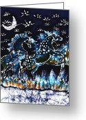 Snowy Night Greeting Cards - Horses Frolic on a Starlit Night Greeting Card by Carol Law Conklin