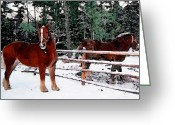 Contemporary Horse Digital Art Greeting Cards - Horses In Winter Greeting Card by Miss Dawn