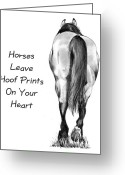 Western Pencil Drawing Greeting Cards - Horses Leave Hoof Prints On Your Heart Greeting Card by Joyce Geleynse