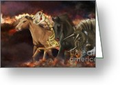 Orange Grey Greeting Cards - Horses Of The Apocalypse Greeting Card by Kate Black