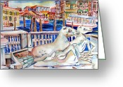 Canal Drawings Greeting Cards - Horses on the Grand Canal of Venice Greeting Card by Mindy Newman