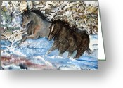 Flurries Greeting Cards - Horses Running in the Snow Greeting Card by Lil Taylor