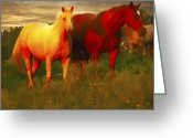 N Framed Prints Greeting Cards - Horses Soft And Sweet Greeting Card by Randall Branham