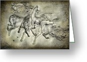 Mythology Surrealism Greeting Cards - Horses Greeting Card by Svetlana Sewell