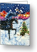 Bright Tapestries - Textiles Greeting Cards - Horses Trot to the Christmas Tree Greeting Card by Carol Law Conklin