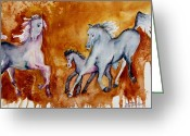 Quarter Horses Greeting Cards - Horses with Foal Greeting Card by Lil Taylor
