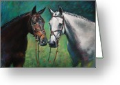 White White Horse Pastels Greeting Cards - Horses Greeting Card by Ylli Haruni