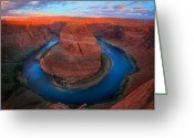 Desert Solitude Greeting Cards - Horseshoe Bend Sunrise Greeting Card by Inge Johnsson