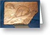 Woodcarving Reliefs Greeting Cards - Horseshoe Crabs Greeting Card by Doris Lindsey