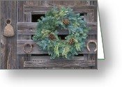 Wreaths Greeting Cards - Horseshoes And Holiday Wreath On Arroyo Greeting Card by Rich Reid