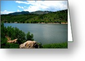 Southern Rocky Mountains Greeting Cards - Horsetooth Reservoir Summer Greeting Card by Aaron Burrows