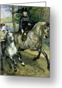 Side Saddle Greeting Cards - Horsewoman in the Bois de Boulogne Greeting Card by Pierre Auguste Renoir