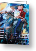 Cowboy Hats Greeting Cards - Horsey Love Greeting Card by Ron Patterson