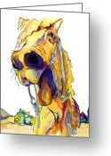 Horse Greeting Cards - Horsing Around Greeting Card by Pat Saunders-White