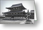 National Treasure Greeting Cards - Horyu-ji Temple Golden Hall - Nara Japan Greeting Card by Daniel Hagerman