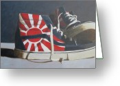 Sneakers Greeting Cards - Hosoi Vans Greeting Card by John Holdway