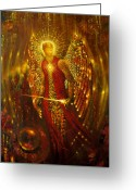 Archangel Mixed Media Greeting Cards - Host of Holies with One Swing Concludes Greeting Card by Stephen Lucas