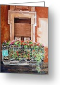 Urban Watercolour Greeting Cards - Hostel balcony in Bilbao Greeting Card by Zaira Dzhaubaeva