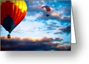 New England Sunset Greeting Cards - Hot Air Balloon and Powered Parachute Greeting Card by Bob Orsillo