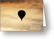 Photgraphy Greeting Cards - Hot air balloon at dusk Greeting Card by Pixel Chimp