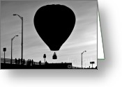 Black And White Photo Greeting Cards - Hot Air Balloon Bridge Crossing Greeting Card by Bob Orsillo