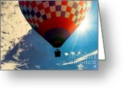 Floating Greeting Cards - Hot Air Balloon Eclipsing the Sun Greeting Card by Bob Orsillo