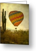 Landscape Posters Greeting Cards - Hot Air Balloon Flight Over the Southwest Desert Greeting Card by James Bo Insogna