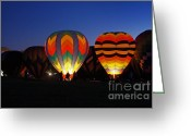 Balloon Festival Greeting Cards - Hot Air Balloons at Dusk Greeting Card by Benanne Stiens