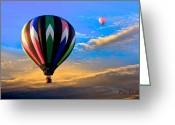Balloon Festival Greeting Cards - Hot Air Balloons at Sunset Greeting Card by Bob Orsillo