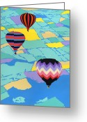 Abstract Sky Greeting Cards - Hot Air Balloons ballooning orignal pop art nouveau landscape  80s 1980s decorative stylized Greeting Card by Walt Curlee