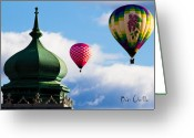 Hot Air Balloon Photo Greeting Cards - Hot Air Balloons float past Mosque Lewiston Maine Greeting Card by Bob Orsillo