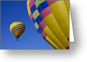 Drifting Greeting Cards - Hot air balloons Greeting Card by Garry Gay