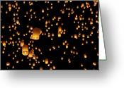 Thailand Greeting Cards - Hot Air Lanterns In Sky Greeting Card by Daniel Osterkamp