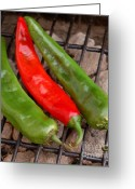 Pods Greeting Cards - Hot and Spicy - Chiles On The Grill Greeting Card by Steven Milner