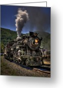Rail Greeting Cards - Hot and Steamy Greeting Card by Evelina Kremsdorf