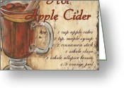 Old Painting Greeting Cards - Hot Apple Cider Greeting Card by Debbie DeWitt