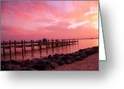 Red Bay Greeting Cards - Hot Bay Sunset Greeting Card by Trish Tritz