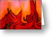 Chili Peppers Greeting Cards - Hot Chili Peppers Greeting Card by Lorena Malm