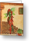 Chili Peppers Greeting Cards - Hot Chili Peppers Greeting Card by Patricia Novack