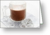 Dipped Greeting Cards - Hot Chocolate And Candy Coated Pretzels Greeting Card by Andee Photography