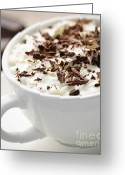 Whipped Topping Greeting Cards - Hot chocolate Greeting Card by Elena Elisseeva