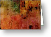 Lacy Abstract Greeting Cards - Hot City Night Greeting Card by Anne Lacy