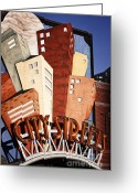 Landmarks Greeting Cards - Hot City Streets Greeting Card by Joan Carroll