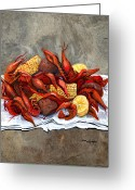 Louisiana Seafood Greeting Cards - Hot Crawfish Greeting Card by Elaine Hodges