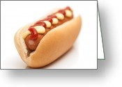 On White Greeting Cards - Hot Dog Greeting Card by Christopher Elwell and Amanda Haselock