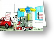 Parks Mixed Media Greeting Cards - Hot Dog Guy of Asbury Park Greeting Card by Patricia Arroyo