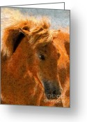 Equine Mixed Media Greeting Cards - Hot Ginger Greeting Card by Zeana Romanovna