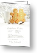 Whimsical Greeting Cards - Hot holiday drink with gingerbread cookies  Greeting Card by Sandra Cunningham