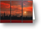 Sunset Image Greeting Cards - Hot In The City Greeting Card by Thomas York