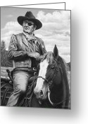 John Wayne Greeting Cards - Hot on the Trail Greeting Card by Kim Lockman